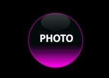 ροζ φωτογραφιών νέου κουμπιών Στοκ εικόνα με δικαίωμα ελεύθερης χρήσης