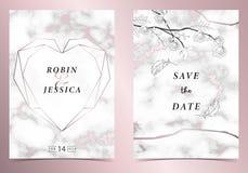 Ροζ χρυσή κάρτα γαμήλιας πρόσκλησης περιλήψεων γεωμετρίας καρδιών με ροδαλό, το φύλλο, το στεφάνι, το σχέδιο φτερών και το πλαίσι απεικόνιση αποθεμάτων