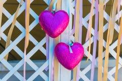 ροζ δύο καρδιών Στοκ φωτογραφίες με δικαίωμα ελεύθερης χρήσης