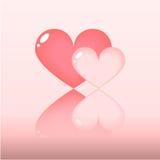ροζ δύο καρδιών Στοκ Εικόνες