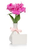 Ροζ peony στο βάζο, και κενή κάρτα Στοκ Εικόνες