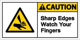 ρολόι αιχμηρών ακρών προσοχής συμβόλων το σημάδι συμβόλων δάχτυλών σας στο άσπρο υπόβαθρο, διανυσματική απεικόνιση ελεύθερη απεικόνιση δικαιώματος