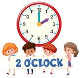 ρολόι και σπουδαστές 2 ο ` διανυσματική απεικόνιση