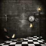 Ρολόι καρδιών, βρώμικο ύφος steampunk διανυσματική απεικόνιση