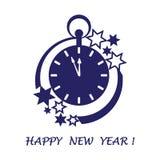 Ρολόι με τα βέλη που παρουσιάζουν λεπτά μέχρι τα μεσάνυχτα και τα αστέρια απεικόνιση αποθεμάτων