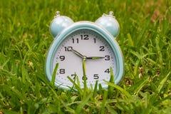 ρολόι στη χλόη, επιχειρησιακή έννοια Στοκ Εικόνες