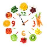 Ρολόι τροφίμων με τα φρέσκα φρούτα και λαχανικά Στοκ φωτογραφία με δικαίωμα ελεύθερης χρήσης