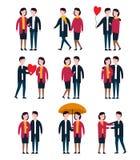 Ρομαντικά ζεύγη, άνθρωποι εραστών από κοινού Διανυσματικό σύνολο χαρακτήρα προσώπων Στοκ Φωτογραφίες