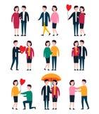 Ρομαντικά ζεύγη, άνθρωποι εραστών από κοινού Διανυσματικό σύνολο χαρακτήρα προσώπων Στοκ Εικόνα