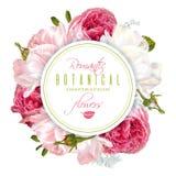Ρομαντικά λουλούδια γύρω από το έμβλημα Στοκ Εικόνες