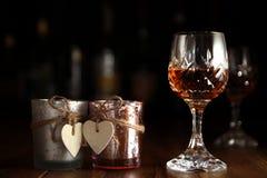 Ρομαντικά ποτά ημέρας βαλεντίνων στοκ φωτογραφίες