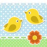 Ρομαντικά πουλιά με το λουλούδι ελεύθερη απεικόνιση δικαιώματος