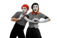 Ρομαντικά mimes στο λευκό στοκ εικόνα με δικαίωμα ελεύθερης χρήσης