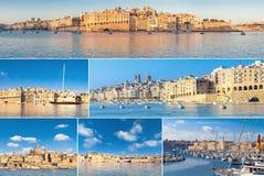 Ρομαντικές εικονικές παραστάσεις πόλης του μεγάλου κόλπου στη Μάλτα, μια φωτεινή ημέρα Στοκ φωτογραφία με δικαίωμα ελεύθερης χρήσης