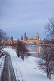 Δρέσδη dusk το χειμώνα Στοκ Φωτογραφία