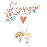 Ρομαντική έννοια Αγαπώντας αγόρι και κορίτσι με την κόκκινη καρδιά αγάπη ζευγών επίσης corel σύρετε το διάνυσμα απεικόνισης Στοκ φωτογραφία με δικαίωμα ελεύθερης χρήσης