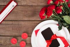 Ρομαντική έννοια γευμάτων Ημέρα βαλεντίνων ή υπόβαθρο προτάσεων Στοκ Εικόνα