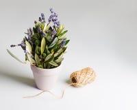 Ρομαντική ανθοδέσμη Lavender των λουλουδιών και των φύλλων ευκαλύπτων στο αναδρομικό ύφος Στοκ φωτογραφία με δικαίωμα ελεύθερης χρήσης