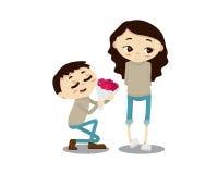 Ρομαντική απεικόνιση ζεύγους βαλεντίνων - ευτυχής επέτειος αγαπητή Στοκ εικόνες με δικαίωμα ελεύθερης χρήσης