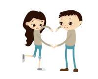 Ρομαντική απεικόνιση ζεύγους βαλεντίνων - το σύμβολο αγάπης Στοκ Εικόνες