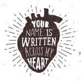 Ρομαντική αφίσα με την ανθρώπινη αγάπη σκιαγραφιών και κειμένων καρδιών Διανυσματική απεικόνιση με τη φράση Στοκ Εικόνες