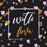 Ρομαντική γράφοντας κάρτα Το Elegand και ακτινοβολεί κάρτα καλλιγραφίας ή γραφικό στοιχείο τυπογραφίας σχεδίου αφισών Στοκ Εικόνα