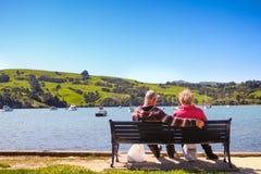 Ρομαντική εικόνα του παλαιού συνταξιούχου ζεύγους που θαυμάζει το ειρηνικό τοπίο στοκ φωτογραφία με δικαίωμα ελεύθερης χρήσης