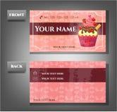 Ρομαντική επαγγελματική κάρτα - μέτωπο, πίσω με το cupcake Στοκ εικόνες με δικαίωμα ελεύθερης χρήσης