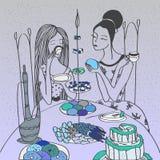 Ρομαντική διανυσματική απεικόνιση με τα κορίτσια που έχουν το πρόγευμα με το τσάι και cupcakes απεικόνιση αποθεμάτων