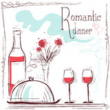 Ρομαντική κάρτα γευμάτων Διανυσματική απεικόνιση με το κρασί και τα τρόφιμα Στοκ Εικόνες