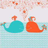 Ρομαντική κάρτα με τις χαριτωμένα φάλαινες, τις καρδιές και τα κύματα Στοκ Φωτογραφία
