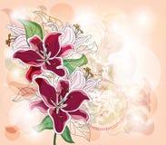 Ρομαντική κάρτα με τους κρίνους απεικόνιση αποθεμάτων