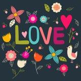 Ρομαντική κάρτα με το πουλί και τα λουλούδια κινούμενων σχεδίων Στοκ φωτογραφία με δικαίωμα ελεύθερης χρήσης