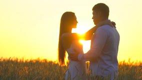 Ρομαντική νέα ευτυχής σκιαγραφία ζευγών στο χρυσό τομέα σίτου στο ηλιοβασίλεμα Γυναίκα και άνδρας που αγκαλιάζουν και που φιλούν  φιλμ μικρού μήκους