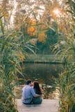 Ρομαντική νέα συνεδρίαση ζευγών και φίλημα Στοκ Φωτογραφία