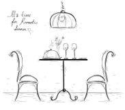 Ρομαντική περιγραμματική απεικόνιση γευμάτων στο λευκό Στοκ εικόνα με δικαίωμα ελεύθερης χρήσης