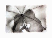 Ρομαντική σκιαγραφία ζευγών Φίλημα γυναικών και ανδρών εραστών κάτω από την ομπρέλα Στοκ Φωτογραφία