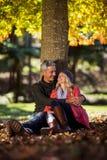 Ρομαντική συνεδρίαση ζευγών κάτω από το δέντρο στο πάρκο Στοκ Εικόνες