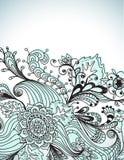 Ρομαντική συρμένη χέρι floral ανασκόπηση Στοκ Εικόνα