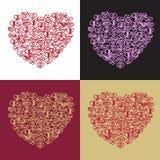 Ρομαντική συλλογή με 4 κάρτες doodle Στοκ φωτογραφία με δικαίωμα ελεύθερης χρήσης