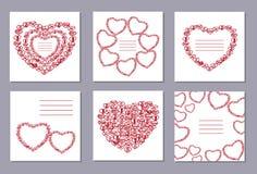 Ρομαντική συλλογή με 6 καρδιές καρτών doodle Στοκ εικόνες με δικαίωμα ελεύθερης χρήσης