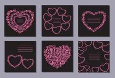 Ρομαντική συλλογή με 6 καρδιές καρτών doodle Στοκ Φωτογραφία