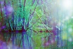 Ρομαντική τέχνη τοίχων σκηνής φύσης όχθεων ποταμού Στοκ Εικόνα
