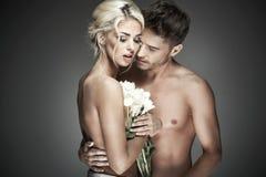 Ρομαντική φωτογραφία του nude ζεύγους Στοκ Φωτογραφία