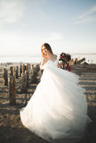 Ρομαντική όμορφη νύφη στην άσπρη τοποθέτηση φορεμάτων στη θάλασσα υποβάθρου και τους ξύλινους πόλους Στοκ φωτογραφίες με δικαίωμα ελεύθερης χρήσης