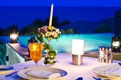 ρομαντική όψη νύχτας jaccuzi γευμάτων Στοκ φωτογραφίες με δικαίωμα ελεύθερης χρήσης