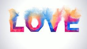 Ρομαντική polygonal κάρτα έννοιας αγάπης και καρδιών φιλμ μικρού μήκους