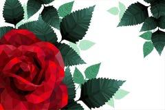 Ρομαντικός αυξήθηκε καρδιά για το χαμηλό πολυ ύφος ημέρας βαλεντίνων Στοκ εικόνα με δικαίωμα ελεύθερης χρήσης