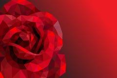 Ρομαντικός αυξήθηκε καρδιά για το χαμηλό πολυ ύφος ημέρας βαλεντίνων Στοκ Φωτογραφία