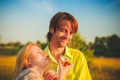 Ρομαντικός ερωτευμένος ζευγών μήνα του μέλιτος στον τομέα και το ηλιοβασίλεμα δέντρων Ευτυχές νέο ζεύγος Newlywed που αγκαλιάζει  Στοκ εικόνες με δικαίωμα ελεύθερης χρήσης